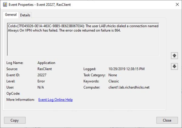 Troubleshooting Always On VPN Error Code 864