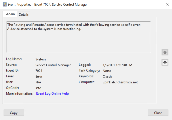 Always On VPN Windows Server RRAS Service Does Not Start