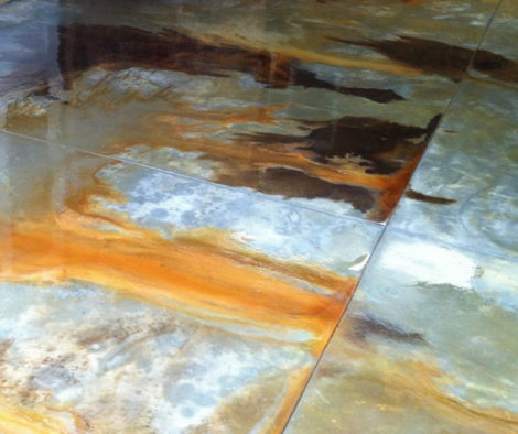 Marble Acid Stain Accents Using Black and Cola Acid Stains. Sealed with High Gloss Acrylic Sealer