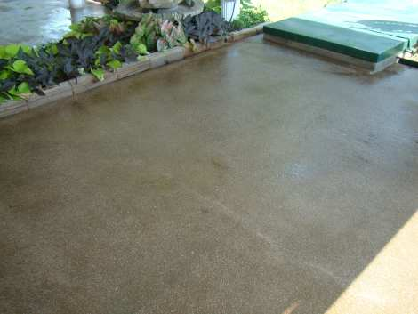 Old concrete patio stained with Olive Antiquing Concrete Stain and sealed with solvent based acrylic concrete sealer
