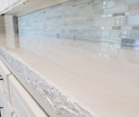 White Pearl Metallic Epoxy Concrete Countertop