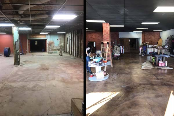 Before and After Concrete Floor and Wall Stenciling with Concrete Overlay, Pigments and Stain