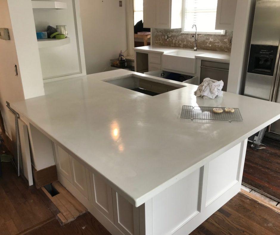 White Concrete Countertop Kitchen Island