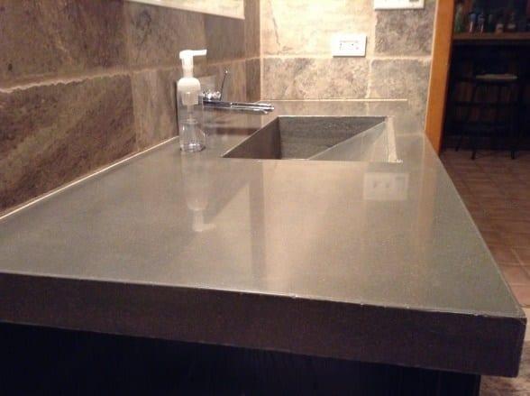 Integrally Colored Gray Concrete Countertop