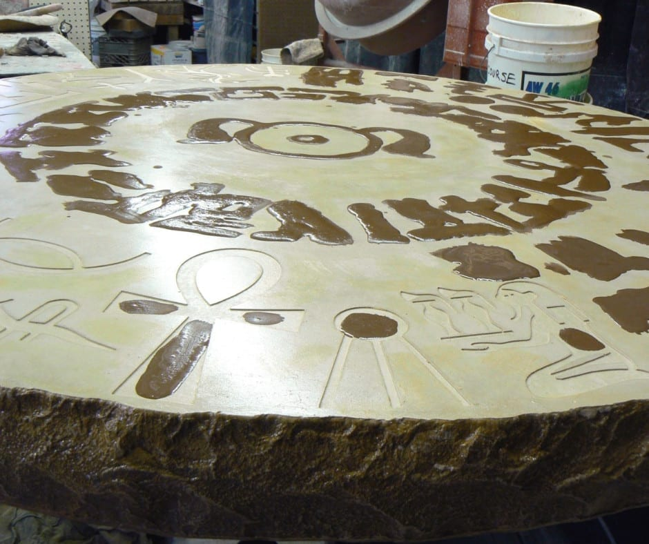 Hand-Crafted Concrete Table with Concrete Overlay Design