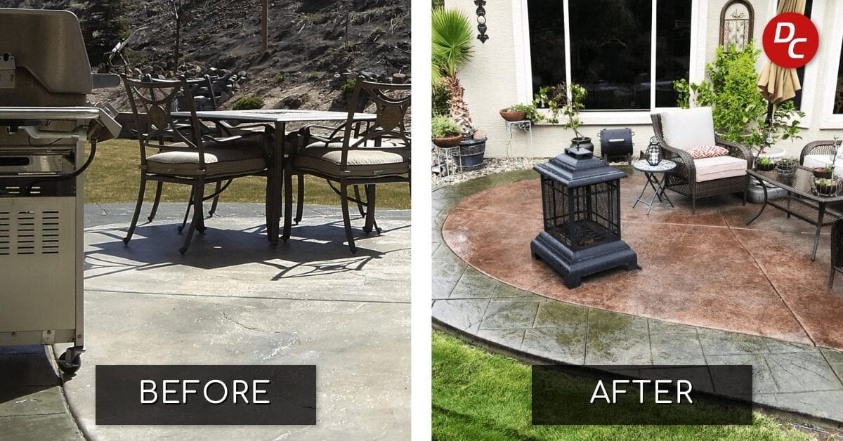 stained concrete patio in 3 easy steps