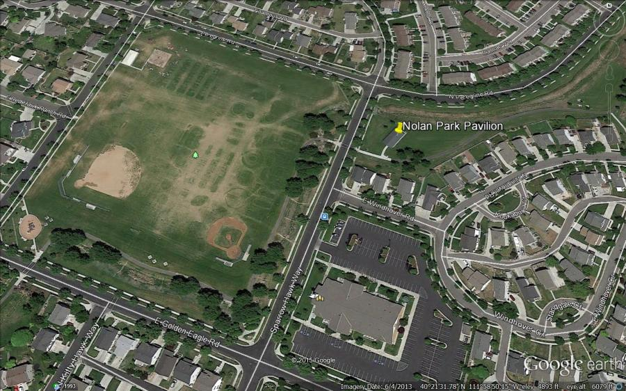 Pin marks location of open house pavilion east of Nolan Park