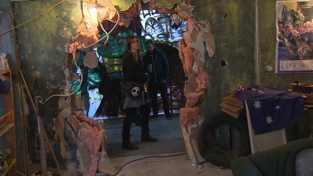 Director Martine Blue on set of Hunting Pignut