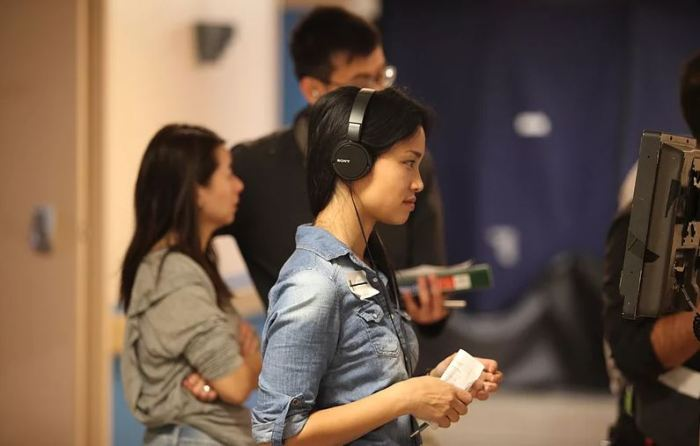 Nadine Truong on set