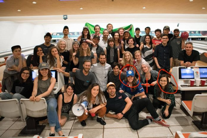 Cast & crew: Writer/Director Kendall Goldberg (left red circle), Writer Rachel Borgo (right red circle)