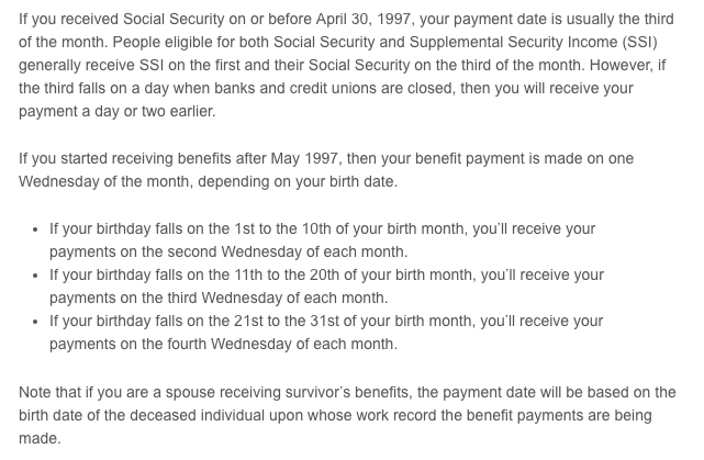 """""""Social Security Payment Schedule 2016"""""""