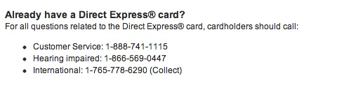 """Direct Express Customer Service"""
