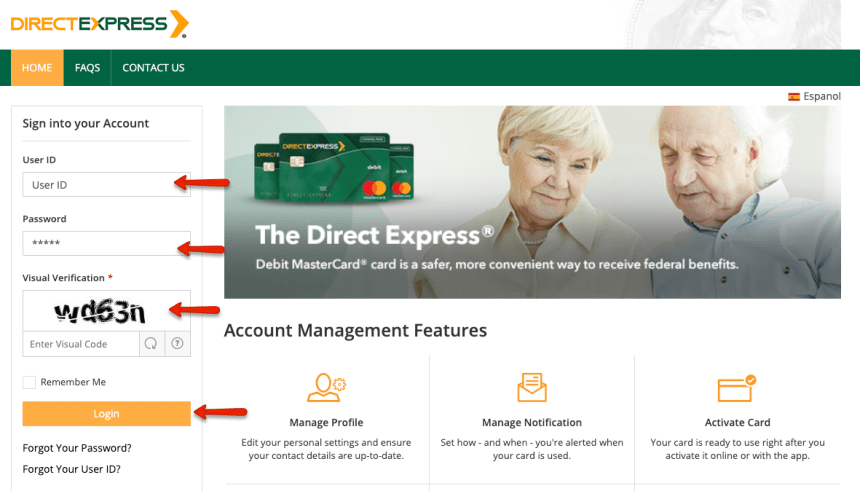 """How to login to Direct Express account 5"""
