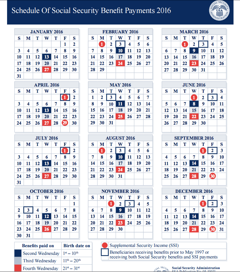 """Social Security Payment Dates 2016"""