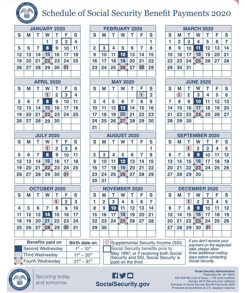 """""""2020 Social Security Payment Schedule"""""""