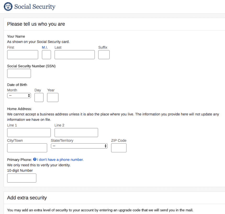 """Create a my Social Security Account - 1"""