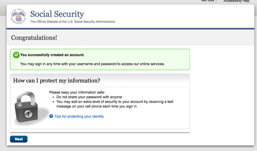 """Create a my Social Security Account - 3"""