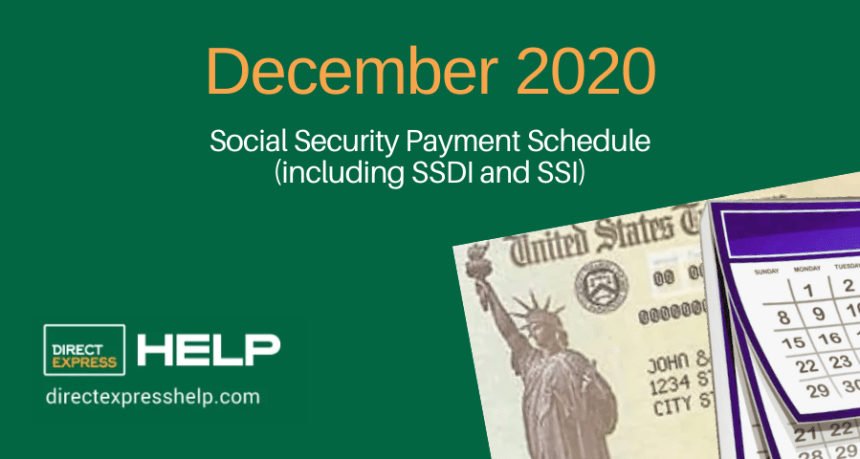 """December 2020 Social Security Payment Schedule"""