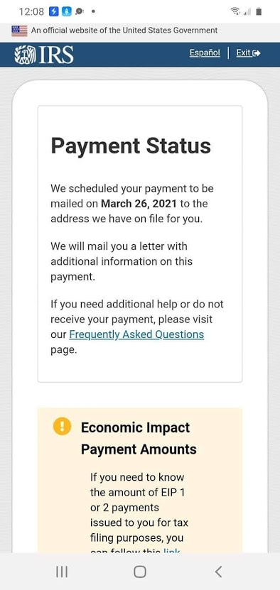 """IRS Stimulus Payment Status"""