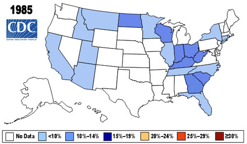Map showing Percent of Obese (BMI > 30) in U.S. Adults in 1985