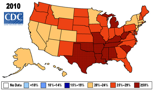 Map showing Percent of Obese (BMI > 30) in U.S. Adults in 2010 by state