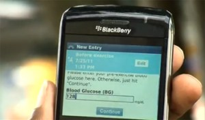 Photo of a smart phone displaying a health related app