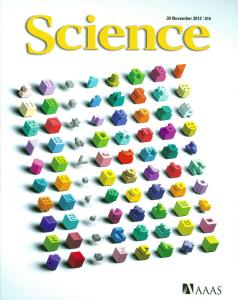 Cover of Science magazine, displaying a set of colorful building blocks.
