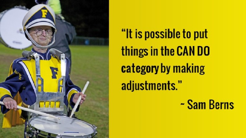 Sam Berns with personalized snare drum carrier
