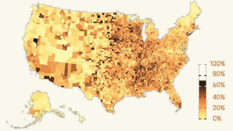 Map of U.S.. Counties showing varying levels of COVID-19 infection