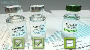 COVID-19 Vaccine vials labeled dose one, dose two, and booster