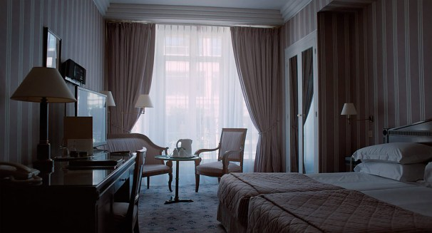 Unlit hotel room