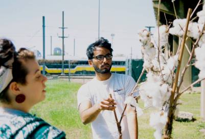 Vishnu Vallabhaneni tinkers with the cotton plant production design.