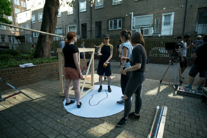 (l-r) Compositor Ysabel King, DoP Sara Pantoli, Director Haolu Wang, Art Director Becka Oxland-Isles
