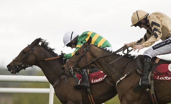 Unowhatimeanharry (Noel Fehily) wins the Grade 1 Ladbrokes Champion Stayers Hurdle from Nichols Canyon. Punchestown Festival. Photo:Patrick McCann 27.04.2017
