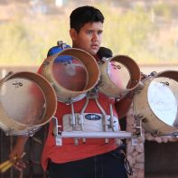 A drummer preps for the marching band