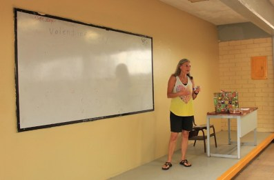 Lead teacher Cherie Althauser of San Carlos leads a class on Valentine's Day