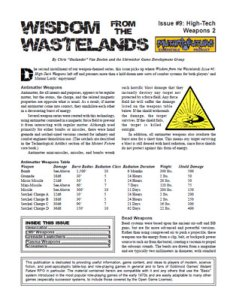 Wisdom from the Wastelands Issue #9: High-Tech Weapons 2