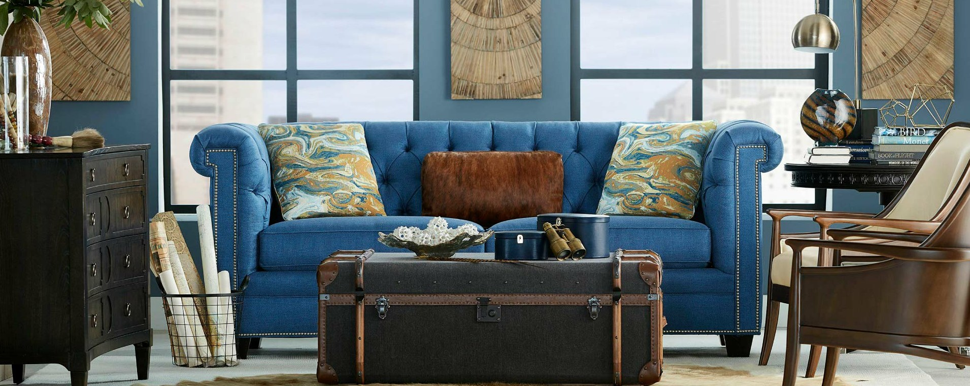 DirectPlus Discount Furniture in Indianapolis tufted blue sofa cropped
