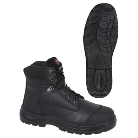 black leather work boot