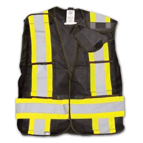 Bk101 Black Hi-Vis Mesh Safety Vest