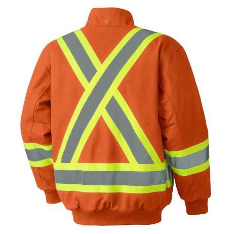 orange insulated duck bomber jacket