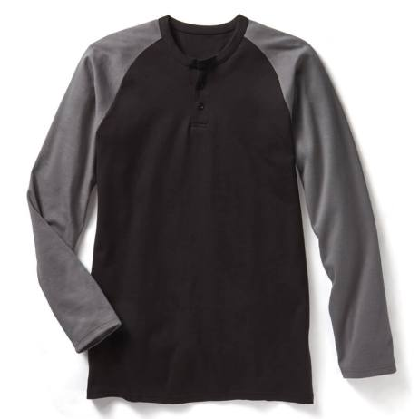 two toned fr henley long sleeved shirt