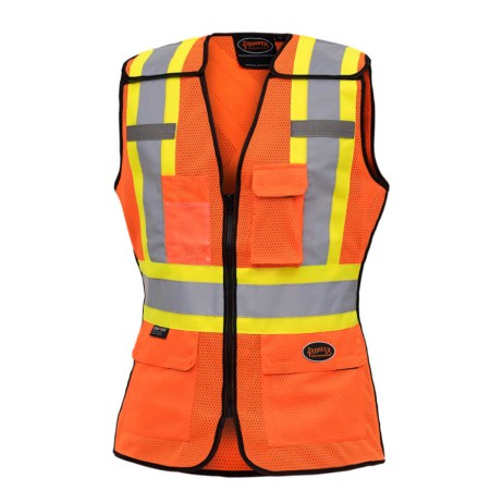 hi-viz orange ladies tear away traffic safety vest