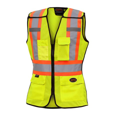 hi-viz yellow ladies tear away traffic safety vest