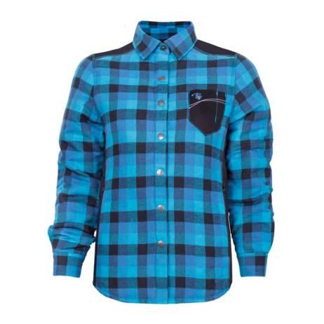 padded plaid blue ladies shirt