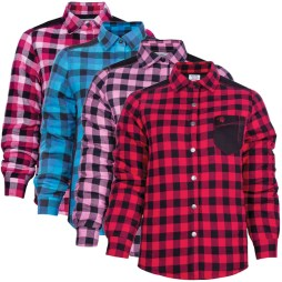 womens plus size padded plaid shirts