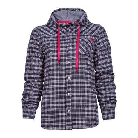 charcoal grey lined flannel hooded ladies shirt