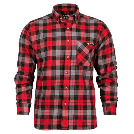 red plaid work shirt