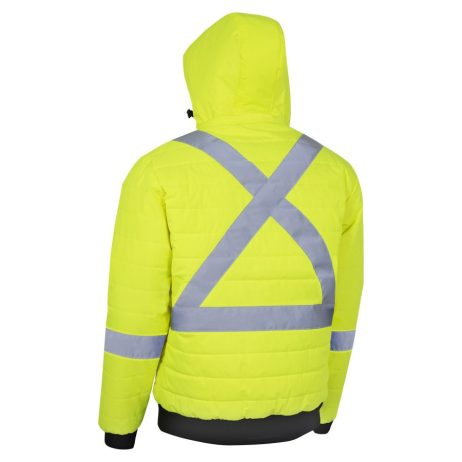 yellow hi vis puffy jacket back