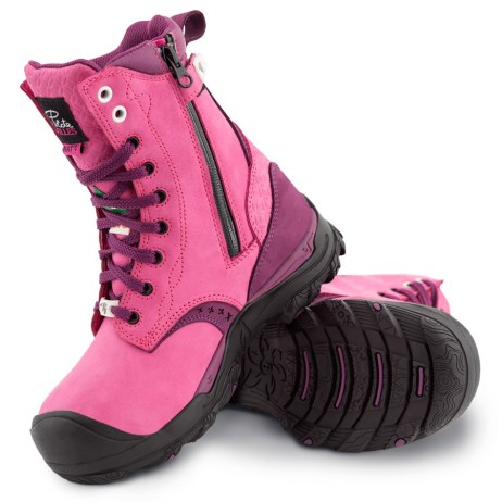womens pink waterproof work boots with zipper